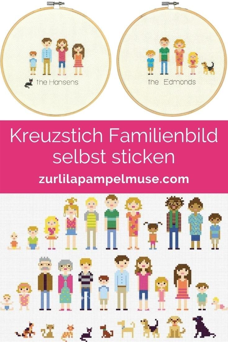 Kreuzstich Familienbild sticken mit vielen Vorlagen
