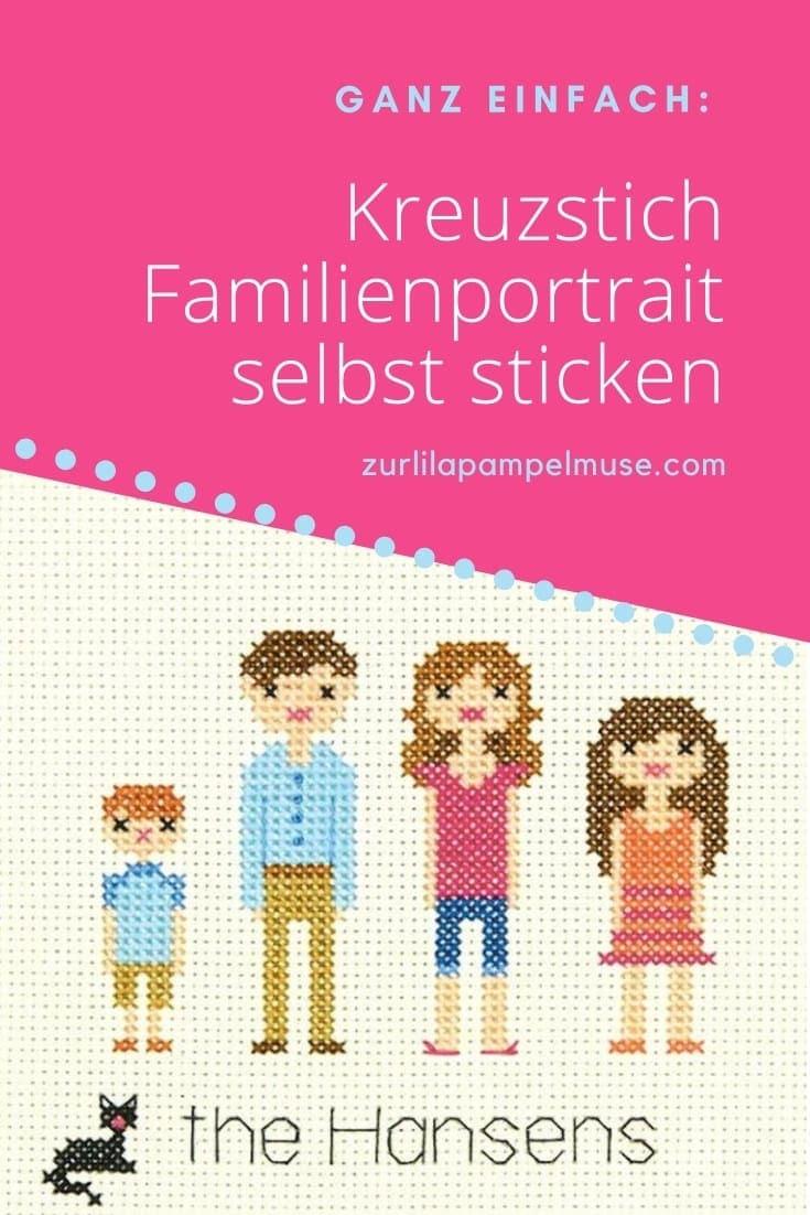 Kreuzstich Familien-Bild sticken inklusive Haustieren