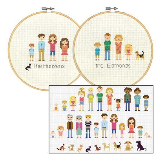 Kreuzstich Familienportrait mit Vorlagen sticken | über Zur Lila Pampelmuse