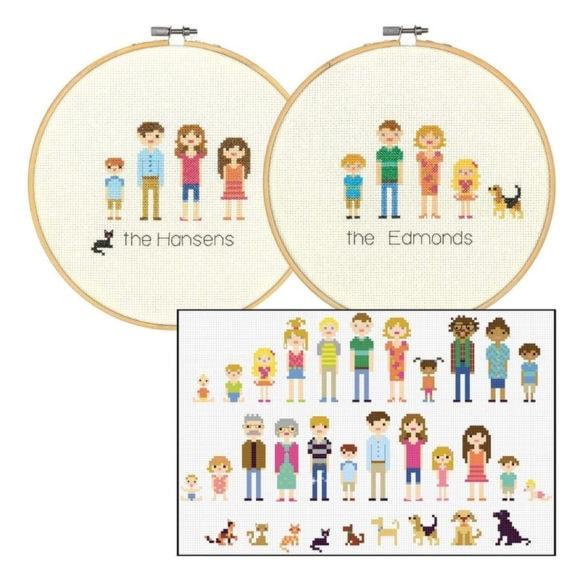 Familie sticken: Entwirf deine eigenen Kreuzstich Familienportraits!