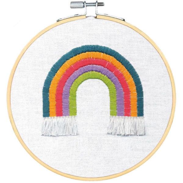 Regenbogen sticken in bunten Farben   Stickpackung über Zur Lila Pampelmuse