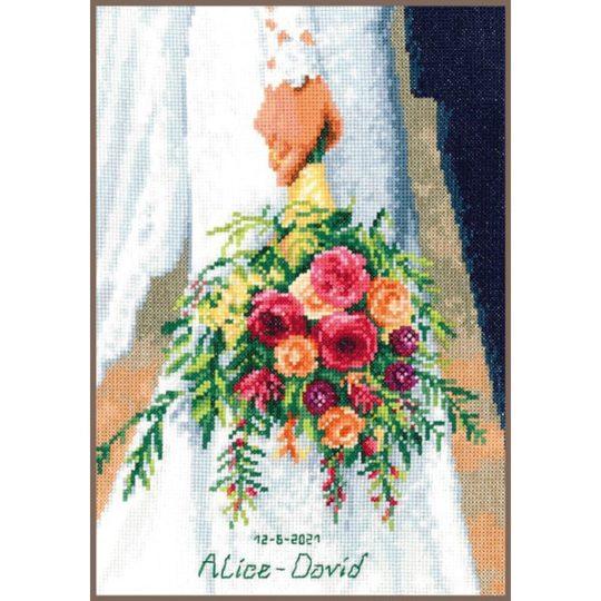 Brautstrauß sticken - mit Namen und Datum als Hochzeitsgeschenk | über Zur Lila Pampelmuse