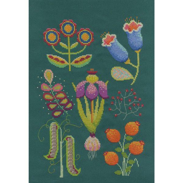 Bunte Gartenblumen sticken   Stickset über Zur Lila Pampelmuse