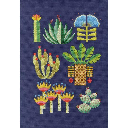 Moderne Wüstenblumen sticken | Stickset über Zur Lila Pampelmuse