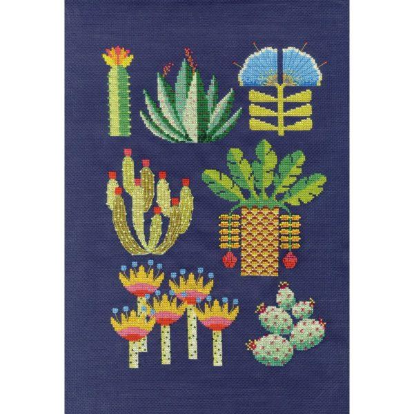 Moderne Wüstenblumen sticken   Stickset über Zur Lila Pampelmuse