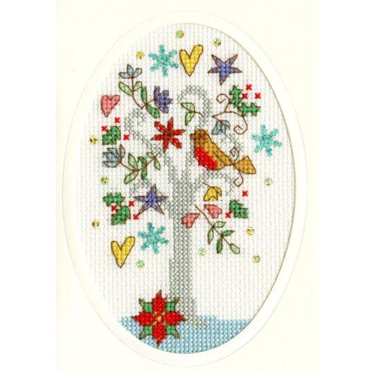 Weihnachtskarte Wintergrüße Kreuzstich-Stickset | über Zur Lila Pampelmuse