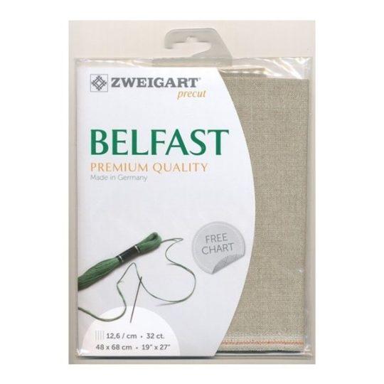 Belfast Leinen zum Sticken in Natur mit Glitzer Fäden l über Zur Lila Pampelmuse